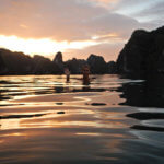 most amazing sunset at Halong bay world heritage