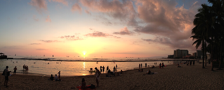 sunset at the end of a long day at Waikiki beach in honolulu