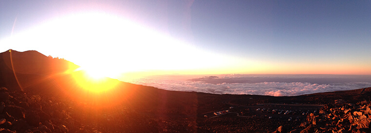 watching an incredible sunset at haleakla summit on maui