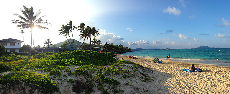 hours of sunshine at one of the most beautiful beaches in the United States at lanikai beach in kailua on oahu