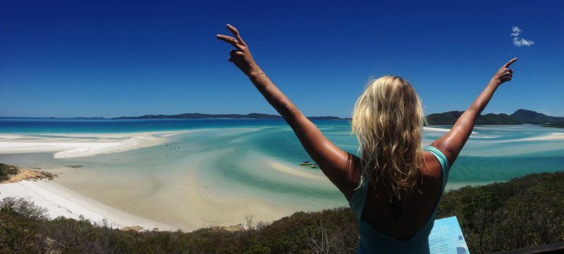 the beautiful view over Whitehaven beach in the national park of the Whitsundays in australia