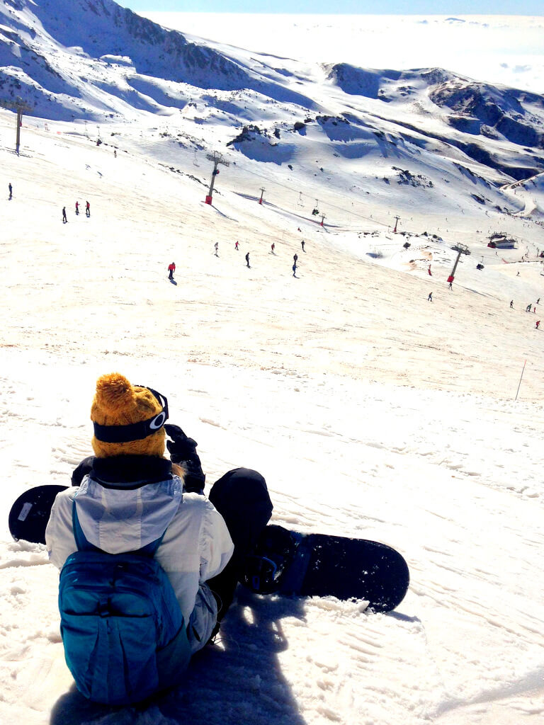 going skiing and snowboarding in the Sierra Nevada in spain