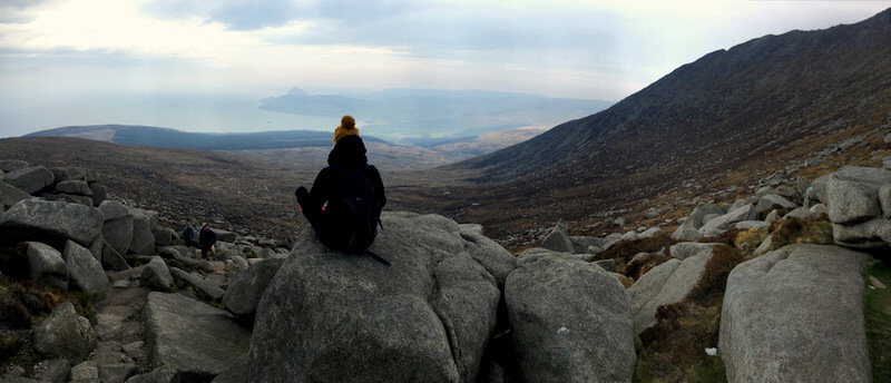 hiking up goatfell mountain and enjoying the amazing view over the isle of arran