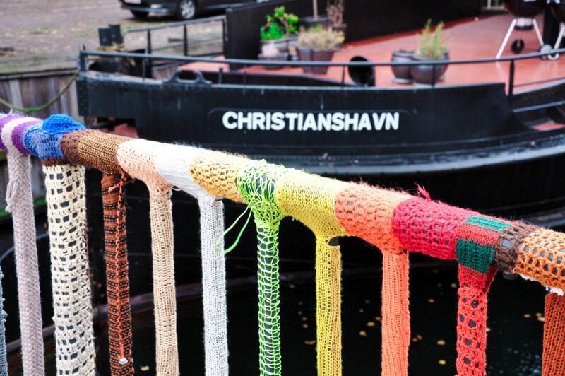 christianshavn in Copenhagen with knitting art