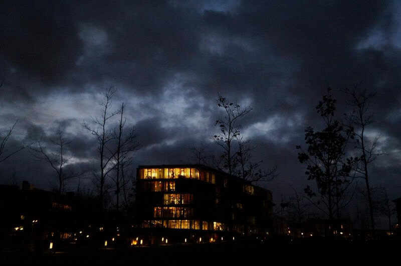 Copenhagen business school campus at night time