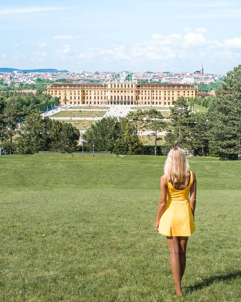 The stunning Schoenbrunn Palace with all its beauty in Vienna City in Austria.