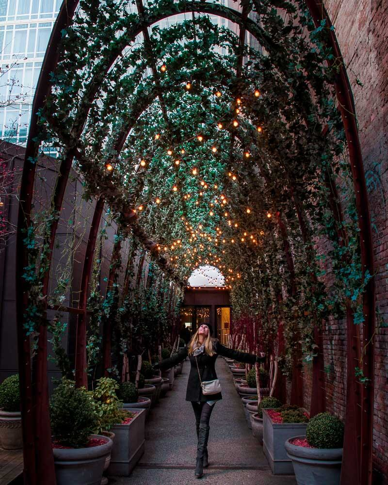 Taking in the Christmas magic at nomo soho a famous hotel in soho district in New York city
