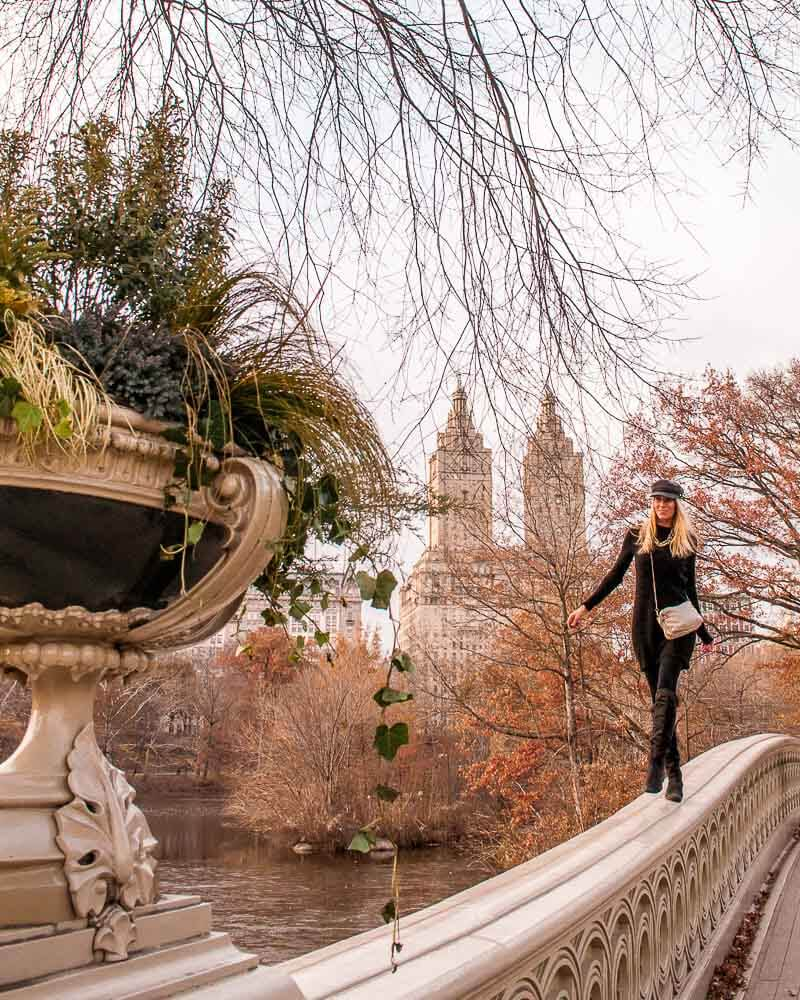walking through life on bow bridge in Central Park in New York city
