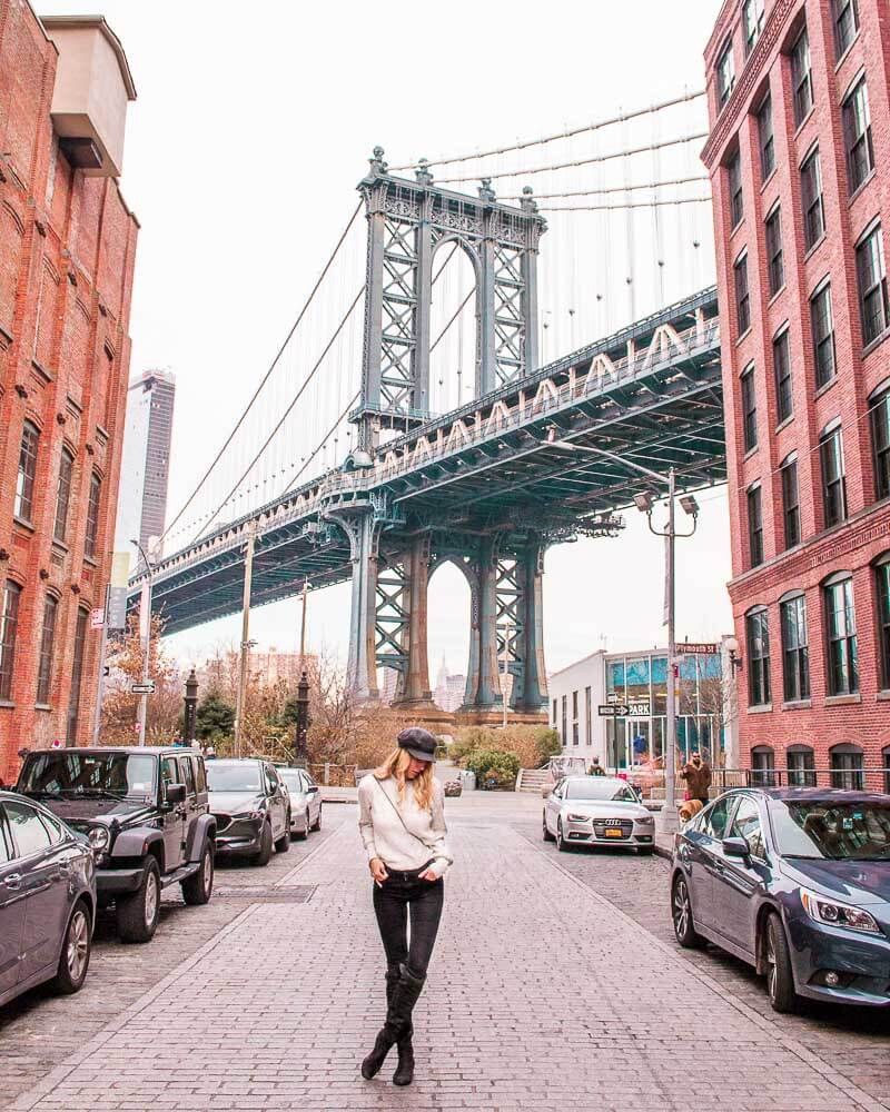 famous dumbo district in brooklyn with the Manhattan bridge in the background
