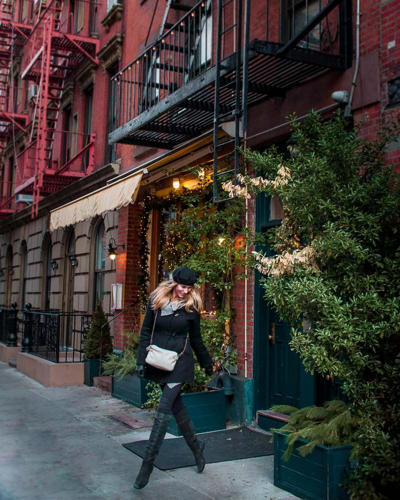 walking the streets of greenwich village a beautiful townhouse area during New York Christmas holiday season