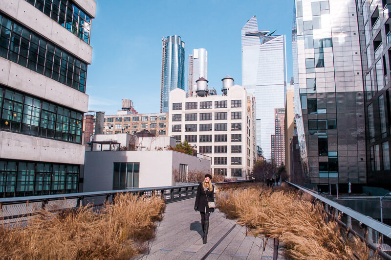 walking the high line in New York close to greenwich village
