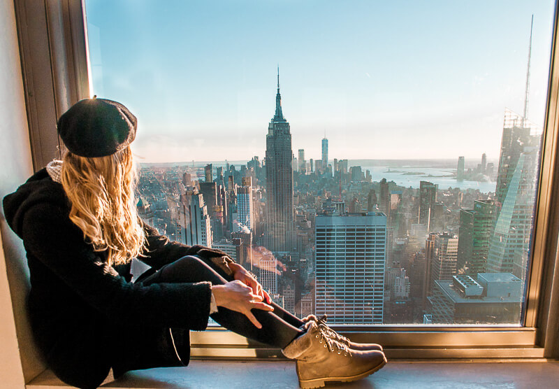having the best view over the Empire State building at the top of the Rockefeller center