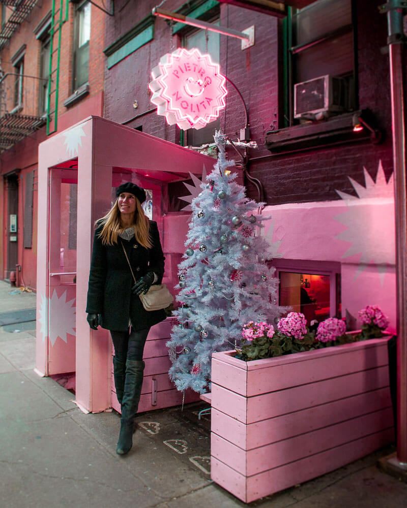 enjoying a very special coffee at Pietro nolita the famous pink cafe in New York