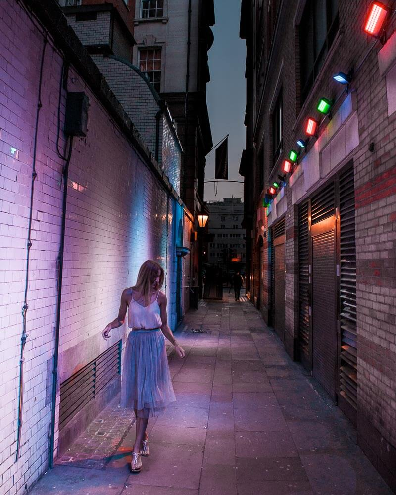 very hidden when you take a right from regent street you will find this colorful alley in the city centre of London