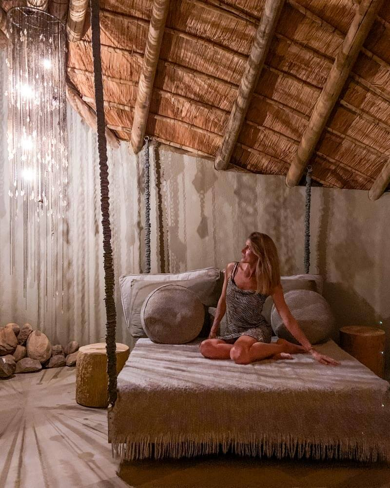 the hanging bed at clifftop exclusive safari hideaway