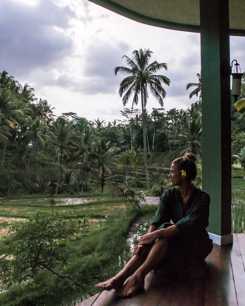 taking in the relaxing vibes at the axurveda retreat in ubud